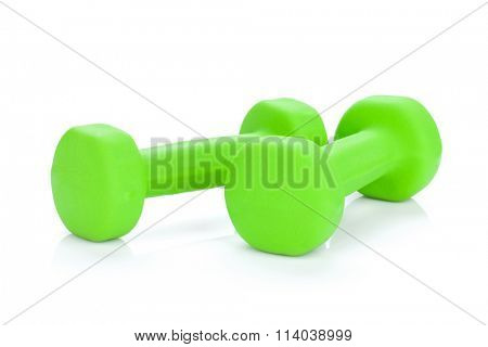 Two green dumbells. Isolated on white background