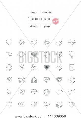 Big vintage set - Valentines Day, design elements, thin line (variable line width)