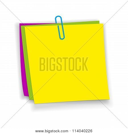 Yellow, pink, green sticky notes