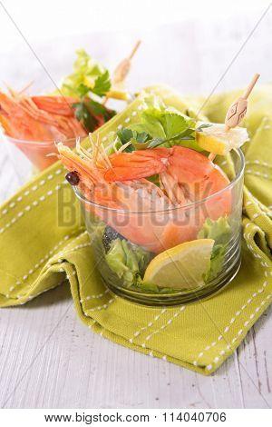 shrimp and salad appetizer