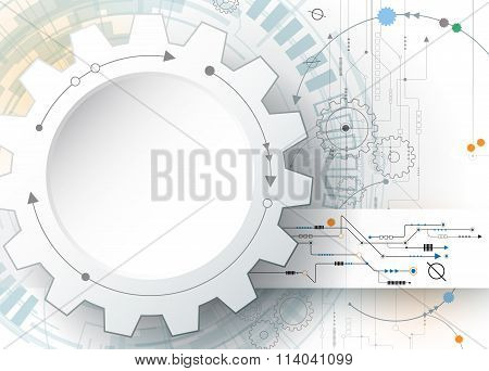 Illustration gear wheel and circuit board Hi-tech digital technology and engineering
