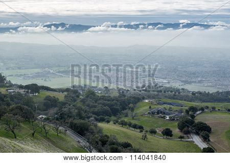 View of the Silicon Valley from Mount Hamilton on a cloudy day