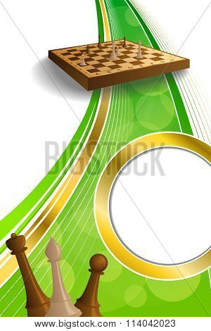 Background abstract green gold chess game brown beige board figures circle vertical frame