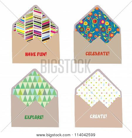 Envelops And Letters Concept For Fun, Joy, Create And Celebrate