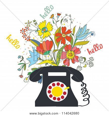 Phone With Flowers And Hello Word - Communication  Illustration