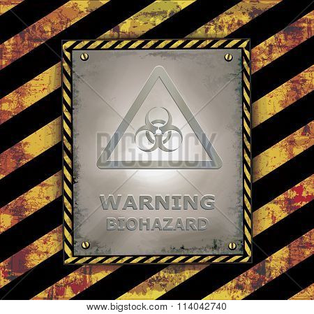 blackboard sign caution banner warning biohazard vector