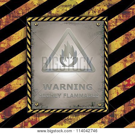 blackboard sign caution banner warning highly flammable vector