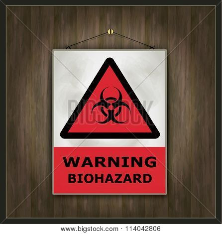 blackboard sign warning biohazard wood vector