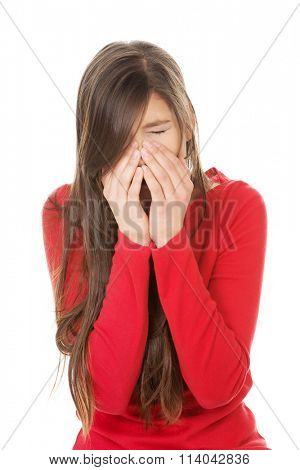 Woman with sinus pain.