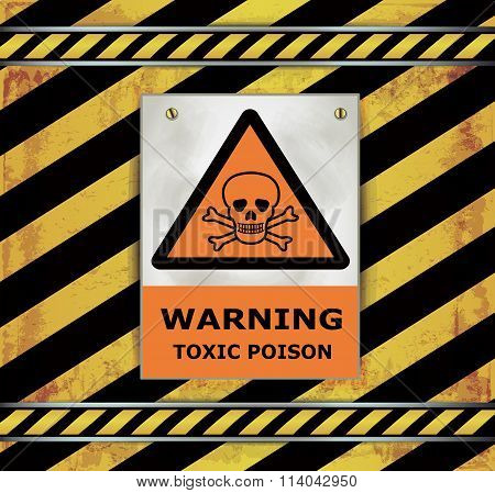 Sign caution blackboard warning toxic poison vector