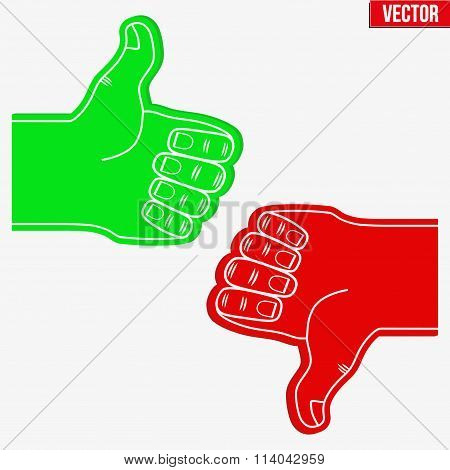 Sports Fans Foam Fingers Loke and Dislike