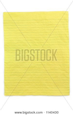 Crumpled Yellow Lined Paper