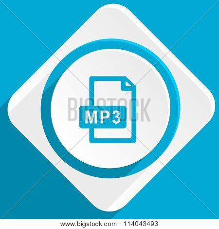 mp3 file blue flat design modern icon for web and mobile app