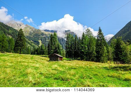 hut in mountains in the national park Hohe Tauern in Alps in Austria. Backgrounds