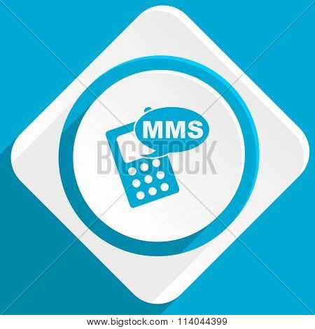 mms blue flat design modern icon for web and mobile app