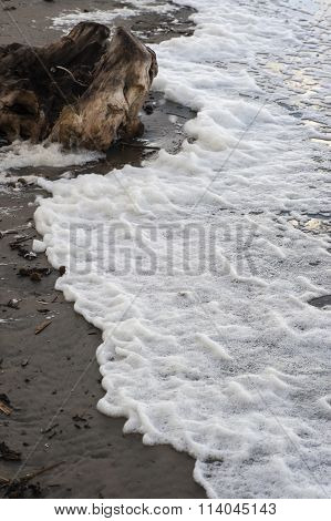 Colorful foam and bubbles induced by pollution in sea water on beach