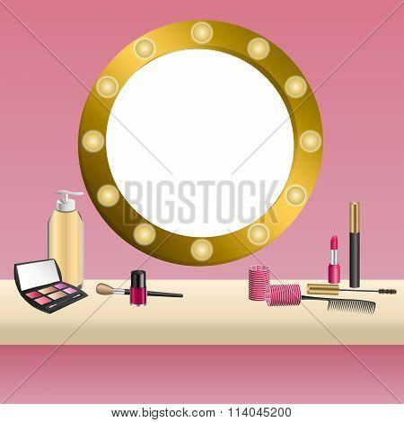Background beige mirror pink cosmetics make up lipstick mascara eye shadows nail polish frame