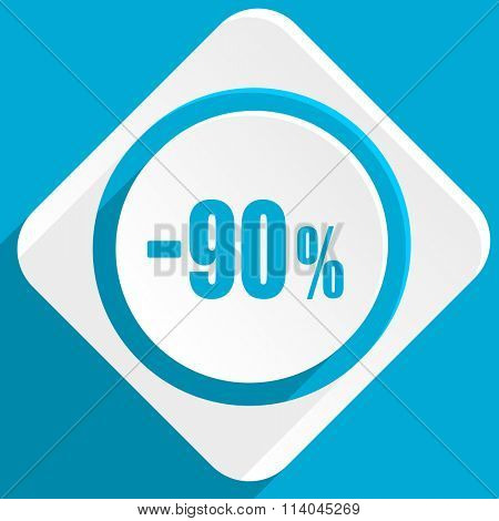 90 percent sale retail blue flat design modern icon for web and mobile app
