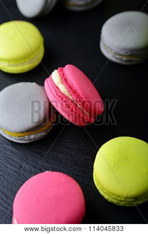 Assorted Sweet Macaroon On Slate