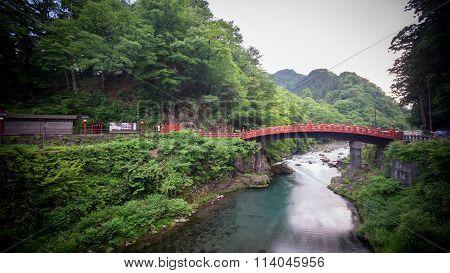 Long exposure of Shinkyo Bridge in Nikko, Japan. Wide angle