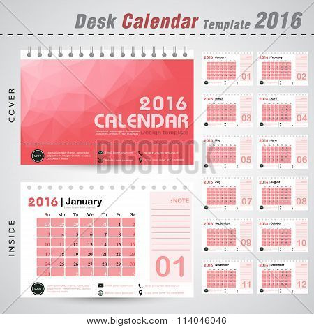 Desk Calendar 2016 Vector Design Template With Red Triangle Abstract Pattern Background. Set Of 12 M