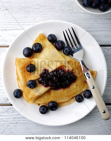 Delicious Pancakes With Sweet Jam