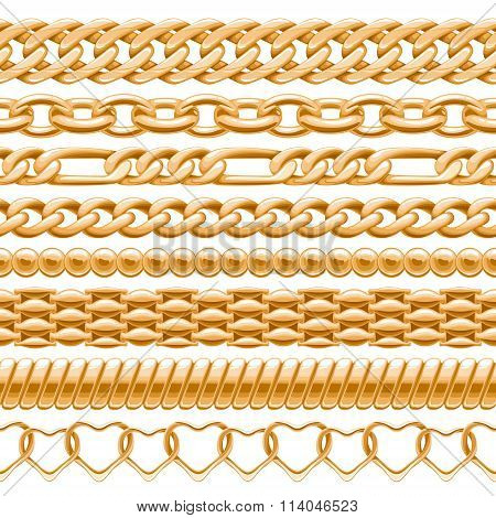 Assorted golden chains on white.