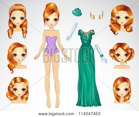 Red Hair Set For Green Paper Doll