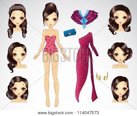 Dark Brown Hair Set For Paper Doll