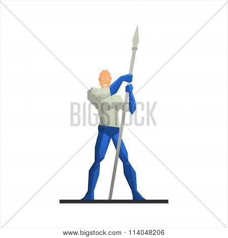 Superhero with a Spear Vector Illustration