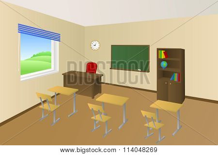 School classroom beige education table chair cabinet window illustration vector