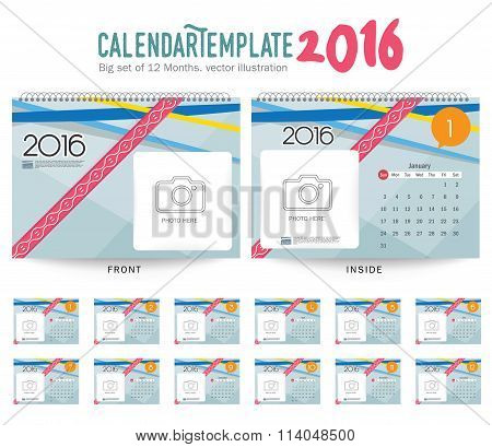 Desk Calendar 2016 Vector Design Template. Big set of 12 Months. Week Starts Sunday
