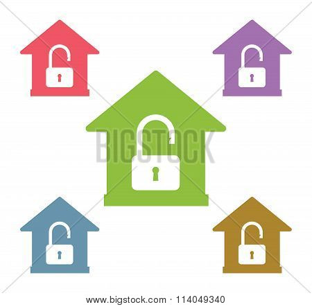 Lock house vector icon shape