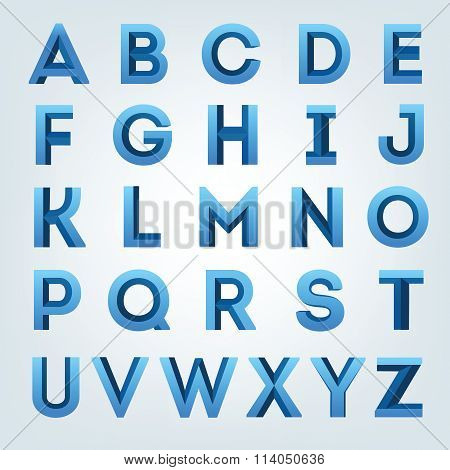 Creative blue 3D alphabet set.
