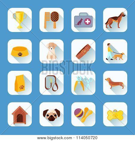 Flat icons set dog slant shadow