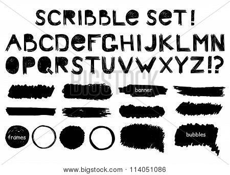 Grunge alphabet,  banner, bubbles and frame  vector set