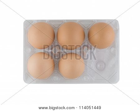 Top View, Eggs In Translucent Plastic Tray On White Background