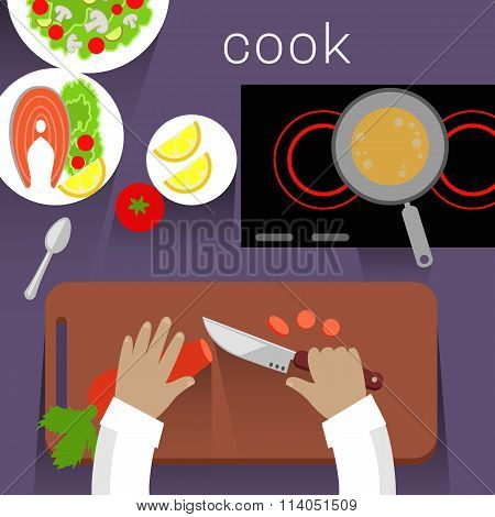 Work Space Cook Design Flat Concept