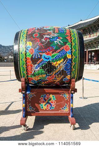 Korean Traditional Drum Called 'buk' At Gyeongbokgung