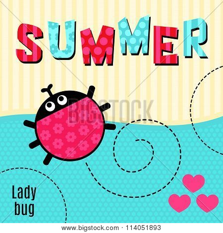 Card ladybug red vector illustration.