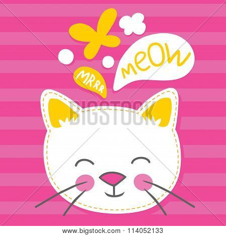 Wheite kitten pink striped vector illustration.