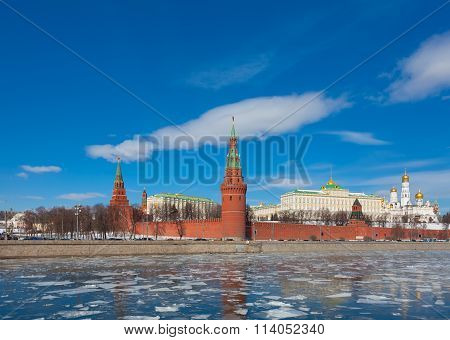 Moscow Kremlin On A Clear Sunny Winter Day, The View From The Embankment Of The Moskva River, Russia