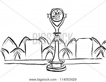 Touristic binoculars sketch