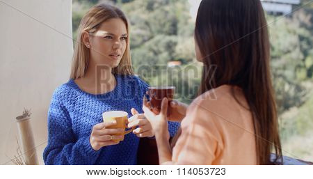 Two women having a friendly chat