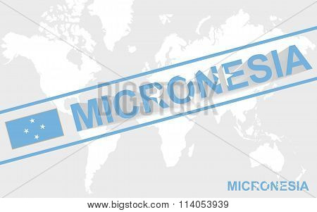 Micronesia Map Flag And Text Illustration