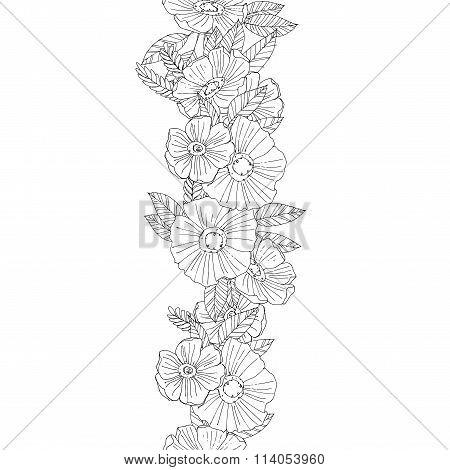 Vertical seamless floral border