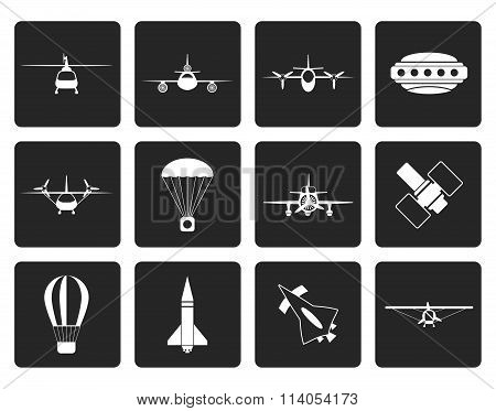 Black different types of Aircraft Illustrations and icons