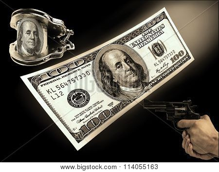 Hundred-dollar Bill, Handcuffs And Gun Rivers. Concept Crime, Coruption