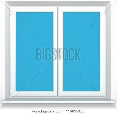 White PVC plastic double door window isolated on white