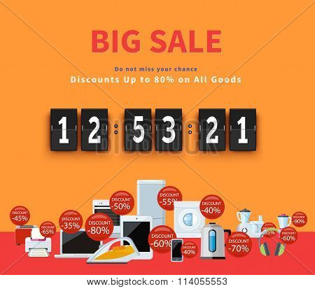 Countdown Big Discounts Flat Design
